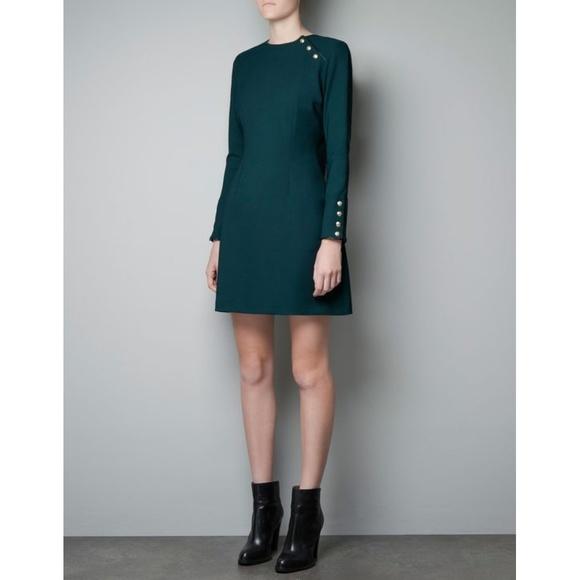 07f07cee NWOT Zara Dark Green Long Sleeve Dress. M_5a7b91b2a44dbe6192d113fb